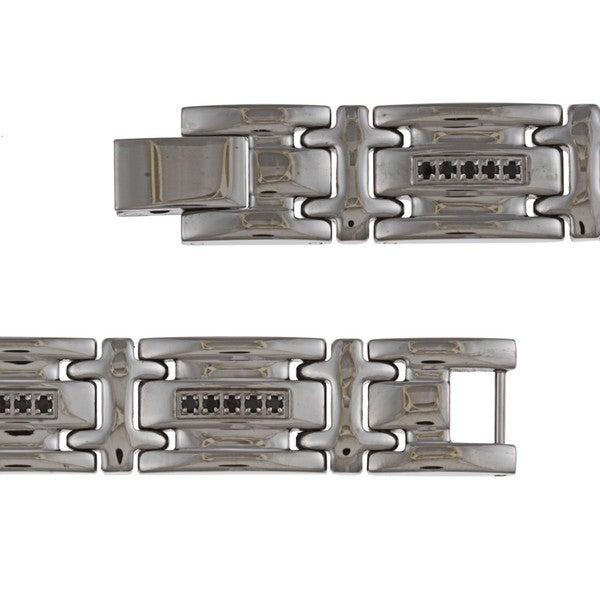 Highly Polished Stainless Steel Men's 1/2 ct TDW Black Diamond Bracelet