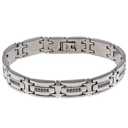 Highly Polished Stainless Steel Men's 1/2 ct TDW Black Diamond Bracelet