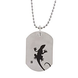 Stainless Steel 3/10 ct TDW Black Diamond Gecko Dog Tag Necklace