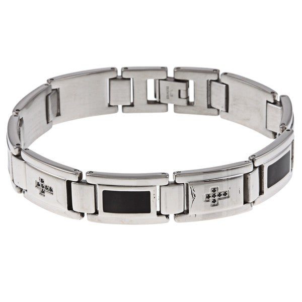 Stainless Steel Men's 1/8ct TDW Black Diamond Bracelet