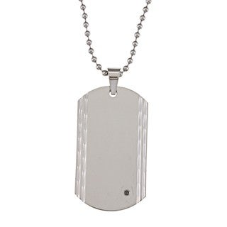 Stainless Steel Black Diamond Accent Dog Tag Necklace