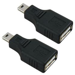 USB 2.0 A to Mini B Five-pin Female to Male Adapter (Pack of Two)