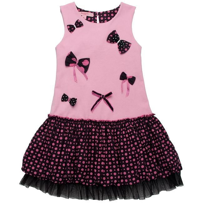 Beetlejuice London Girl's 'Pretty In Pink' Polka Dot/Bow Dress
