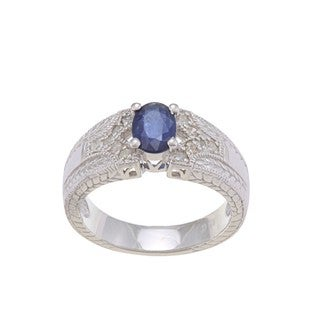 Viducci Sterling Silver Blue Sapphire and 1/4ct TDW Diamond Ring (G-H, I1-I2)