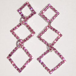 Detti Originals Brass Triple-diamond Pink Crystal Earrings