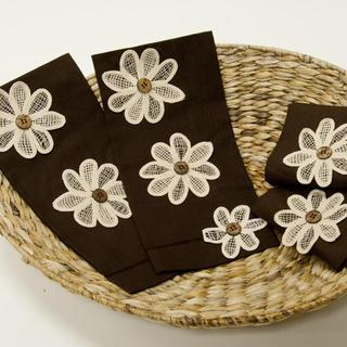 Chocolate Hemstitched Flower-power Towel (Set of 4)