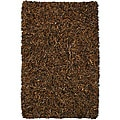 Hand-tied Pelle Brown Leather Shag Rug (4' x 6')
