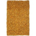 Hand-tied Pelle Gold Leather Shag Rug (5' x 8')