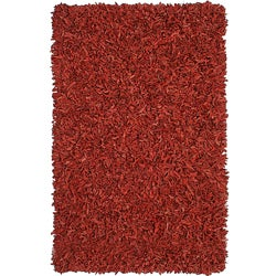 Hand-tied Pelle Red Leather Shag Rug (8' x 10')