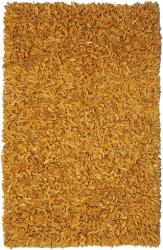 Hand-tied Pelle Gold Leather Shag Rug (8' x 10')
