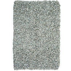 Hand-tied Pelle Off-white Leather Shag Rug (5' x 8')