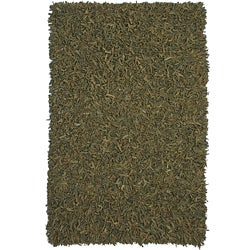 Hand-tied Pelle Green Leather Shag Rug (5' x 8')