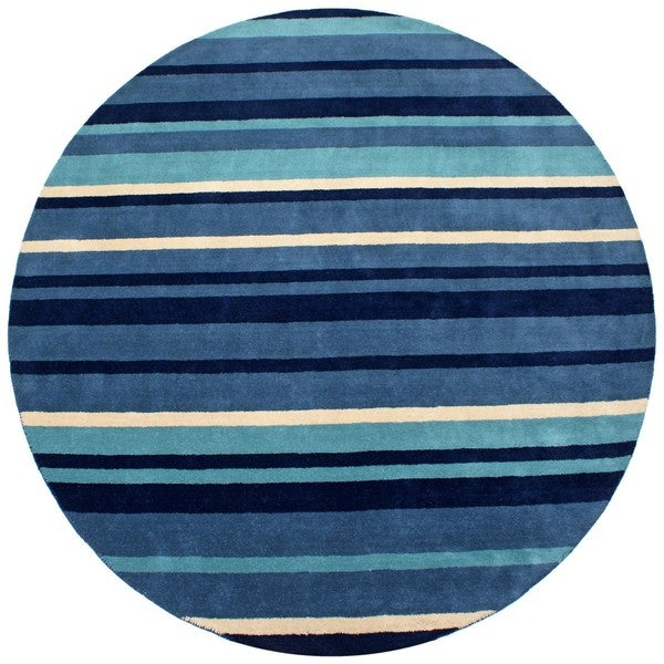 Hand-tufted Blue Cosmo Striped Wool Rug (8' x 8')