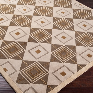 Hand-knotted Beige Contemporary Geometric Square Rochelle Wool Rug (9' x 13')