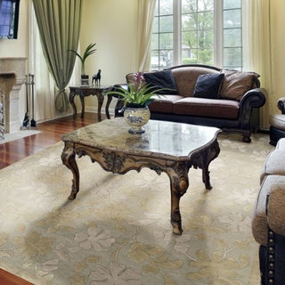 Hand-knotted Moss Green Floral Sovereign Semi-Worsted  Wool Rug (9' x 13')