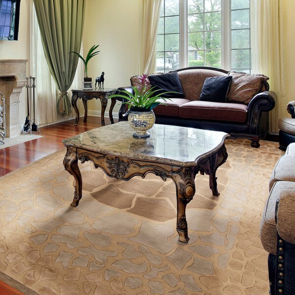 Hand-knotted Brown Contemporary Arista Wool Abstract Rug (8' x 11')