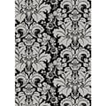 "Brilliance Black/Silver Damask Area Rug (3'3"" x 4'11"")"