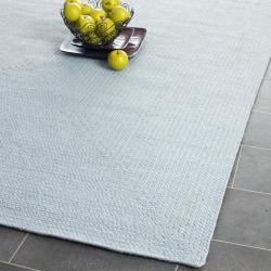 Reversible Cottage Lifestyle Light Blue Braided Rug (8' x 10')