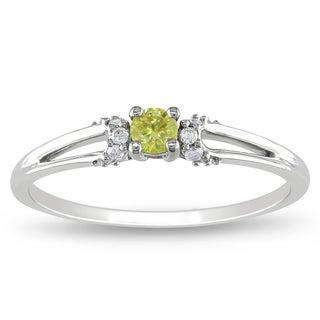 Miadora 10k Gold 1/5ct TDW Yellow and White Diamond Ring (G-H, I3)