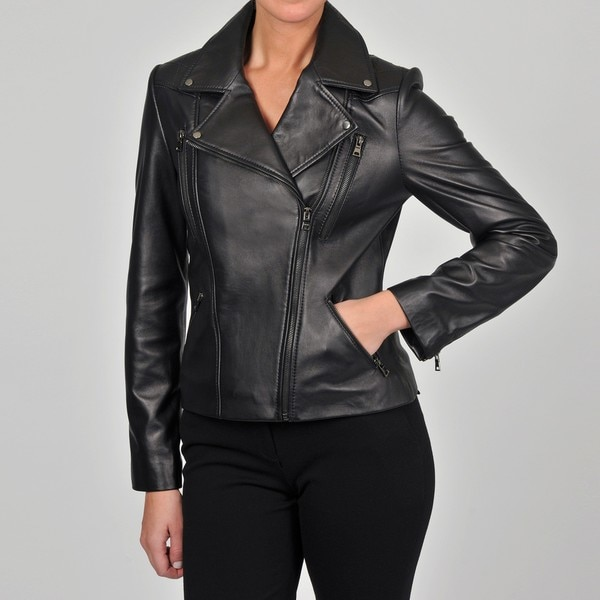 Collezione Italia Women's Black New Zealand Lambskin Leather Moto Jacket