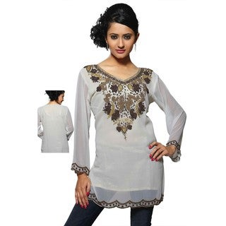 Women's Georgette Crepe and Gold Neckline Kurti/ Tunic (India)
