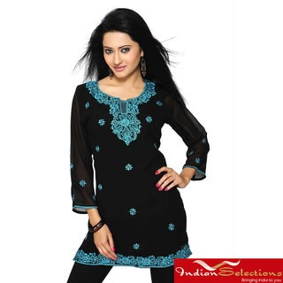Georgette Black with Turquoise Embroidery Kurti/ Tunic (India)