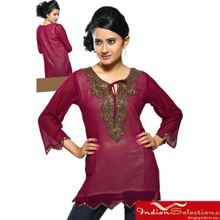Fine Georgette Maroon Hand-worked Neckline Kurti/ Tunic (India)