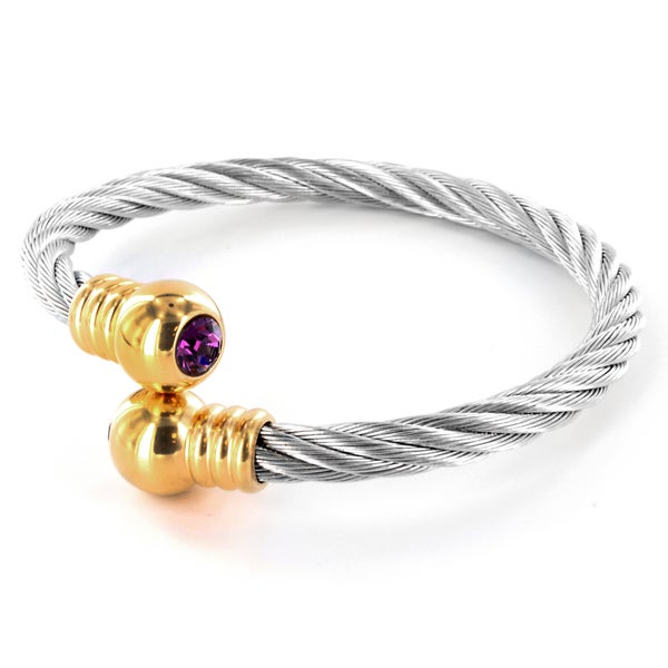 West Coast Jewelry Goldplated Stainless Steel Pink Crystal Cable Cuff Bracelet