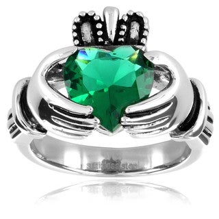 West Coast Jewelry Stainless Steel Heart-cut Green Cubic Zirconia Claddagh Ring