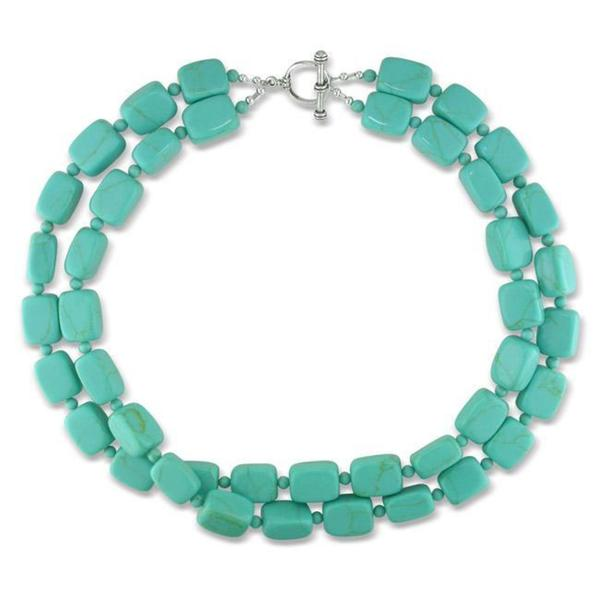 Miadora Sterling Silver Turquoise Bead 2-strand Necklace