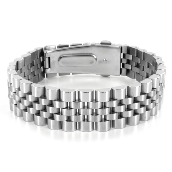 West Coast Jewelry Stainless Steel Wide Link Bracelet