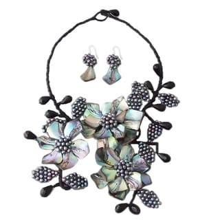 Abalone/ Pearl Peacock Flower Bouquet Jewelry Set (3-4 mm) (Thailand)