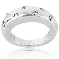 West Coast Jewelry High-polished Stainless Steel Round Clear Crystal Graduated Band