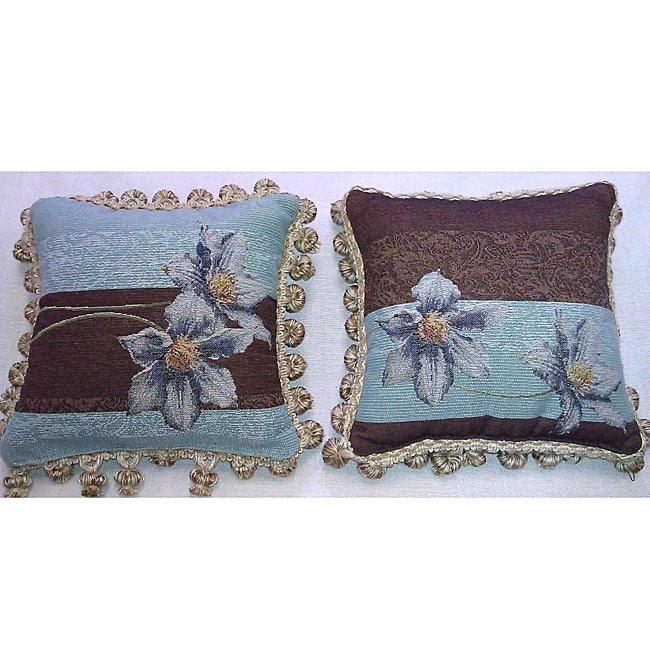 Corona Decor French-woven Floral Decorative Pillows (Set of 2)