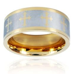 Crucible Goldtone Stainless Steel Men's Laser Cross Design Ring