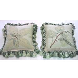 Corona Decor Belgium-woven Leaf Decorative Square Pillows (Set of 2)