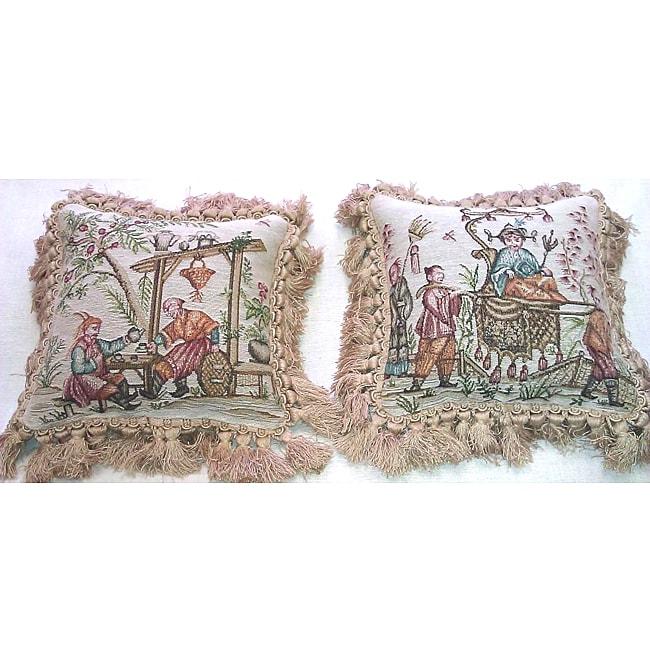 Corona Decor Asian Design Woven Decorative Pillows (Set of 2)