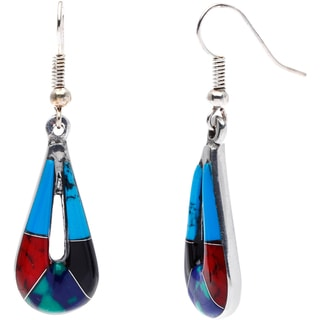 Silver Inlaid Turquoise and Polished Stone Teardrop Earrings (Mexico)
