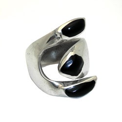 Alpaca Silver Onyx Wrap Ring (Mexico)