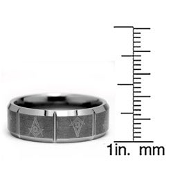 Men's Tungsten Carbide Masonic Design Ring (8 mm)