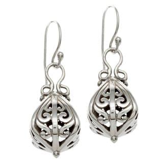 Sunstone Sterling Silver Bali Drop Earrings