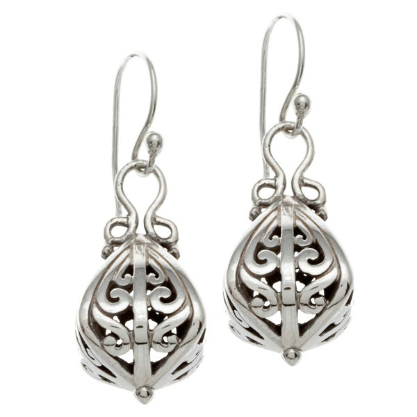 Sunstone Sterling Silver Bali Drop Earrings