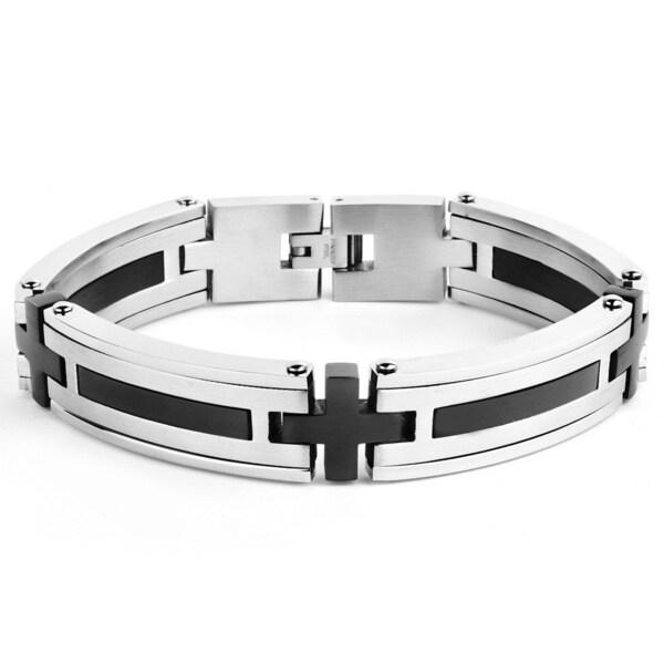 Stainless Steel Men's Black-plated Link Bracelet