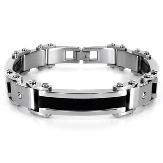Crucible Stainless Steel Men's Black Rubber Accent Link Bracelet