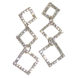 Detti Originals Silvertone Brass Triple-diamond Clear Crystal Earrings