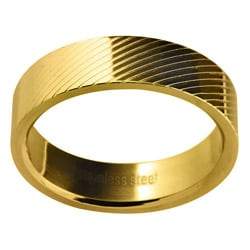 Goldtone Stainless Steel Men's Lined Wedding-style Band