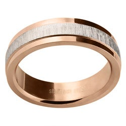 Rose Goldtone Stainless Steel Diamond-cut Band