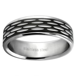 Stainless Steel Women's Black Etched Wedding-style Band