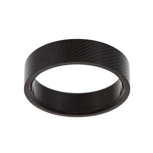 Black-plated Stainless Steel Men's Lined Wedding-style Band
