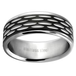 Stainless Steel Men's Black-plated Etched Wedding-style Band